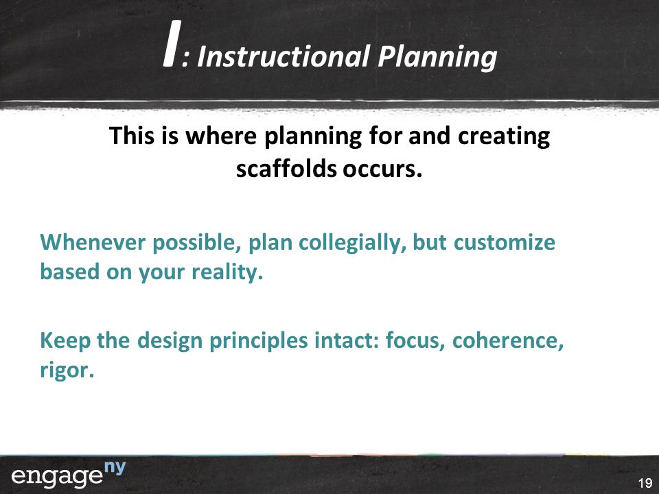 I : Instructional Planning This is where planning for and creating scaffolds occurs.