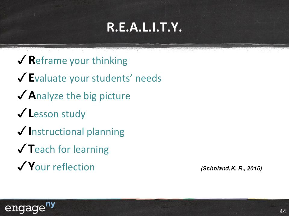 R.E.A.L.I.T.Y. ✓ R eframe your thinking ✓ E valuate your students' needs ✓ A nalyze the big picture ✓ L esson study ✓ I nstructional planning ✓ T each