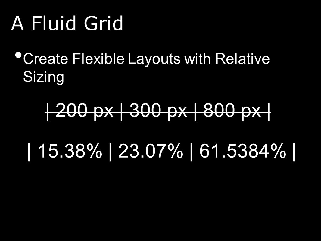 A Fluid Grid Create Flexible Layouts with Relative Sizing | 200 px | 300 px | 800 px | | 15.38% | 23.07% | 61.5384% |