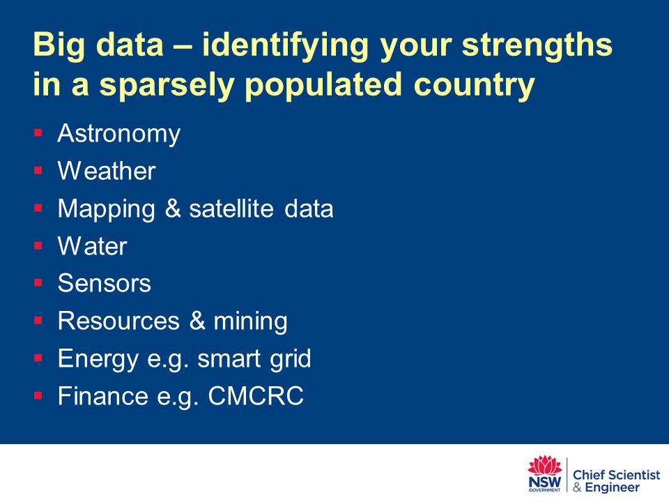 Big data – identifying your strengths in a sparsely populated country  Astronomy  Weather  Mapping & satellite data  Water  Sensors  Resources & mining  Energy e.g.