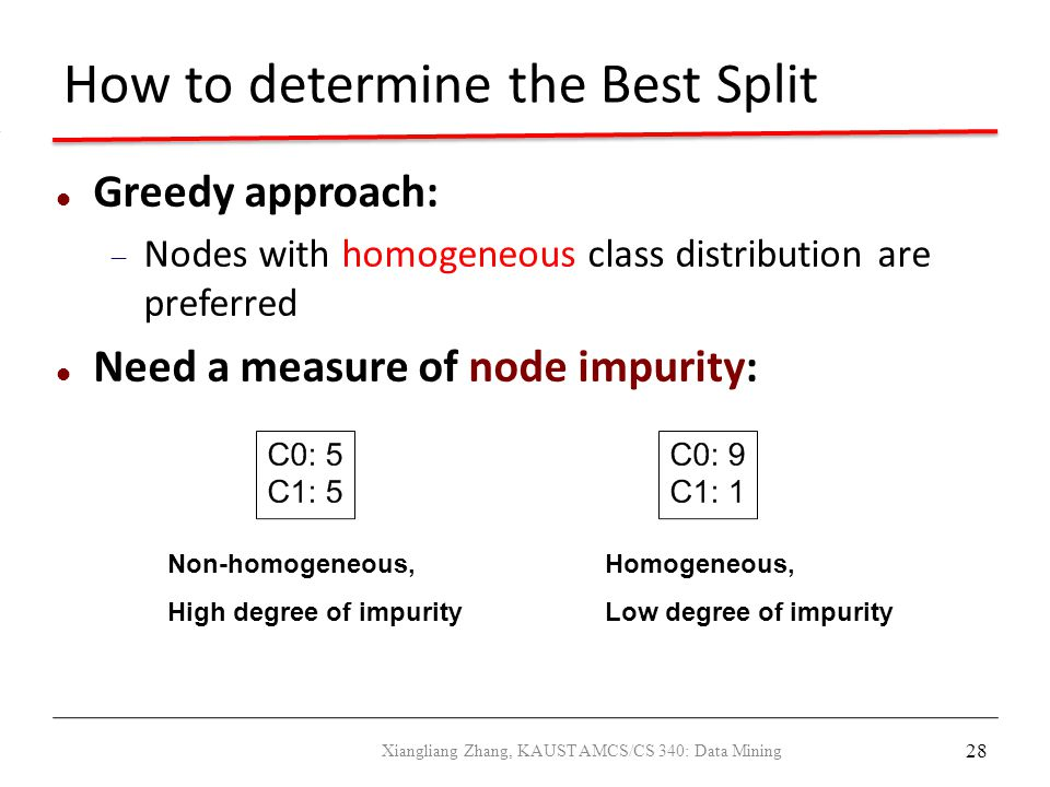 28 How to determine the Best Split Greedy approach:  Nodes with homogeneous class distribution are preferred Need a measure of node impurity: Non-hom