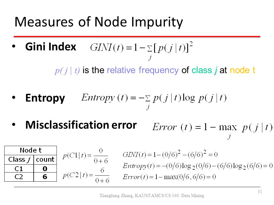 Measures of Node Impurity Gini Index p( j | t) is the relative frequency of class j at node t Entropy Misclassification error 31 Xiangliang Zhang, KAU