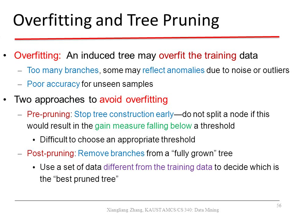 September 14, 2010Data Mining: Concepts and Techniques56 Overfitting and Tree Pruning Overfitting: An induced tree may overfit the training data – Too