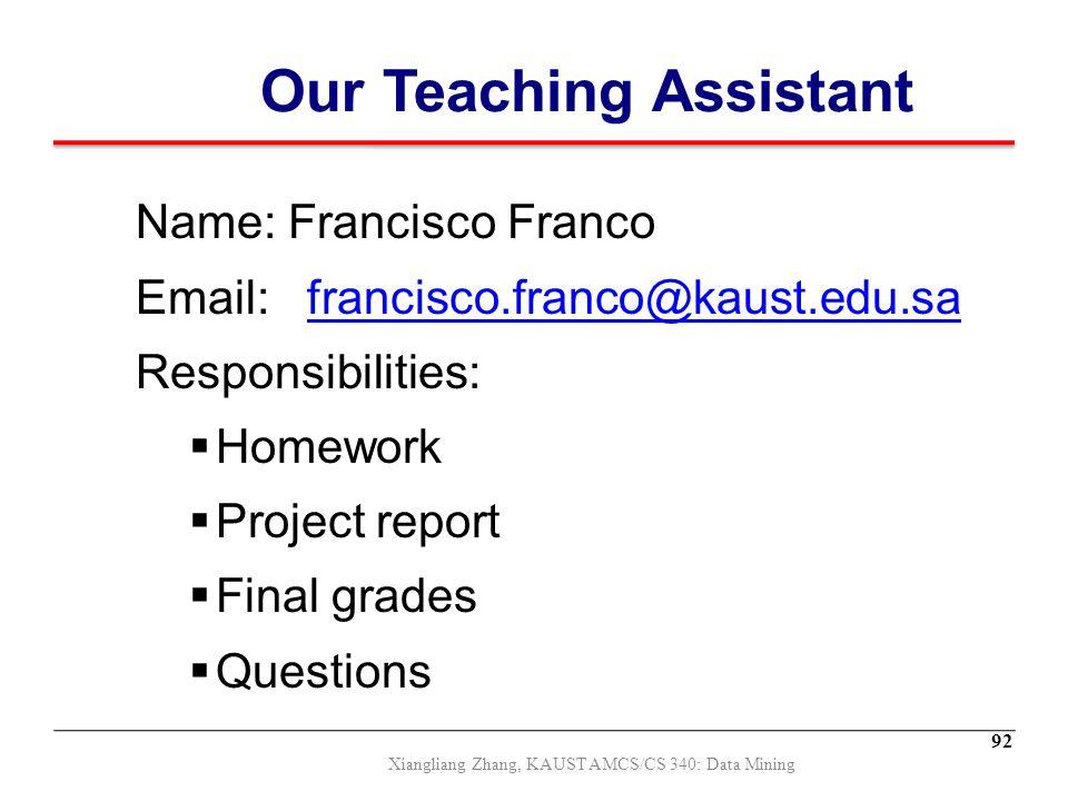 Our Teaching Assistant Name: Francisco Franco Email: francisco.franco@kaust.edu.safrancisco.franco@kaust.edu.sa Responsibilities:  Homework  Project