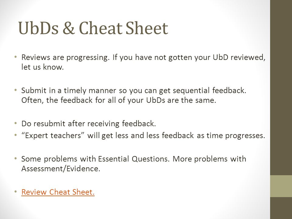 UbDs & Cheat Sheet Reviews are progressing. If you have not gotten your UbD reviewed, let us know.