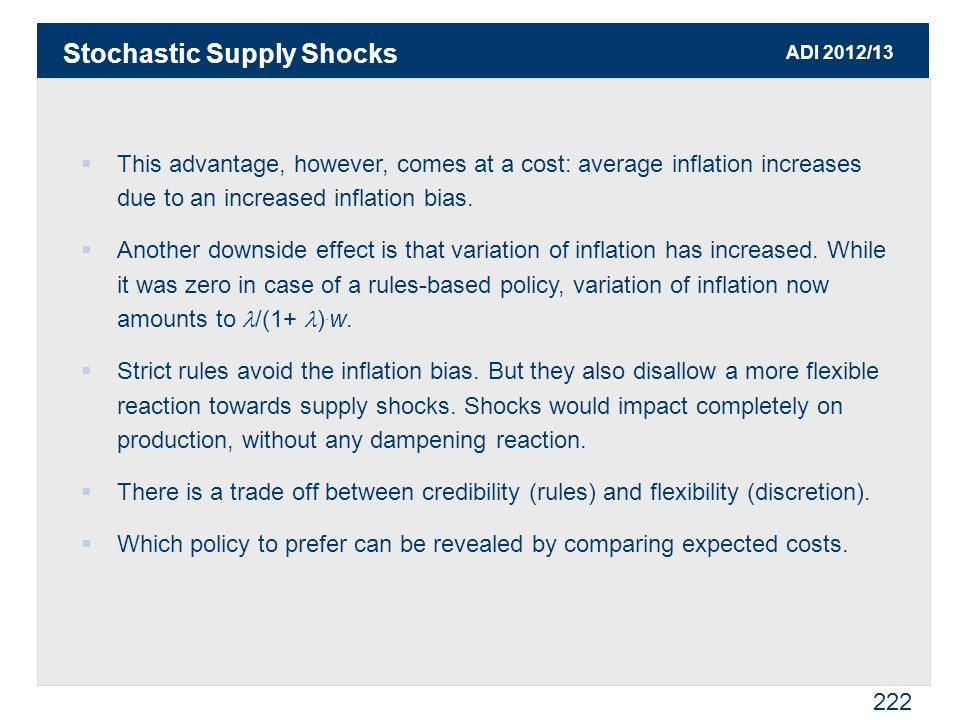 ADI 2012/13 222  This advantage, however, comes at a cost: average inflation increases due to an increased inflation bias.