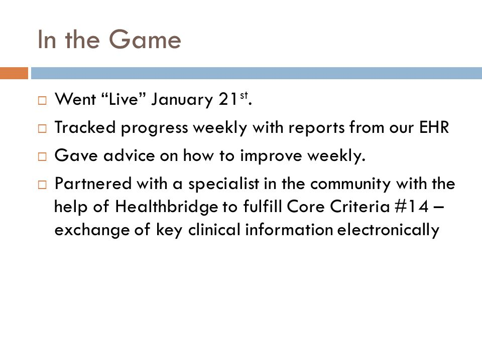 In the Game  Went Live January 21 st.