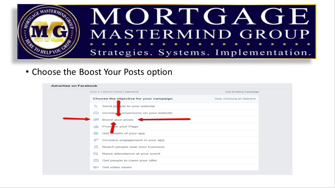 Choose the Boost Your Posts option