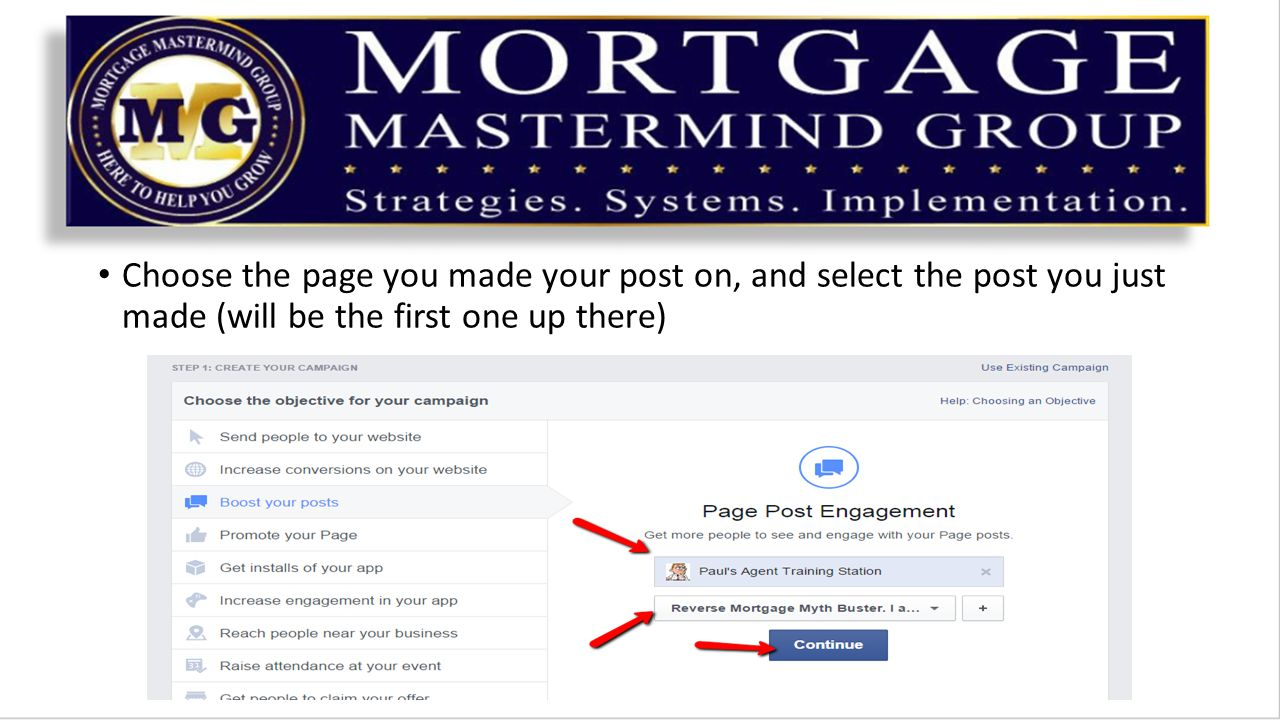 Choose the page you made your post on, and select the post you just made (will be the first one up there)