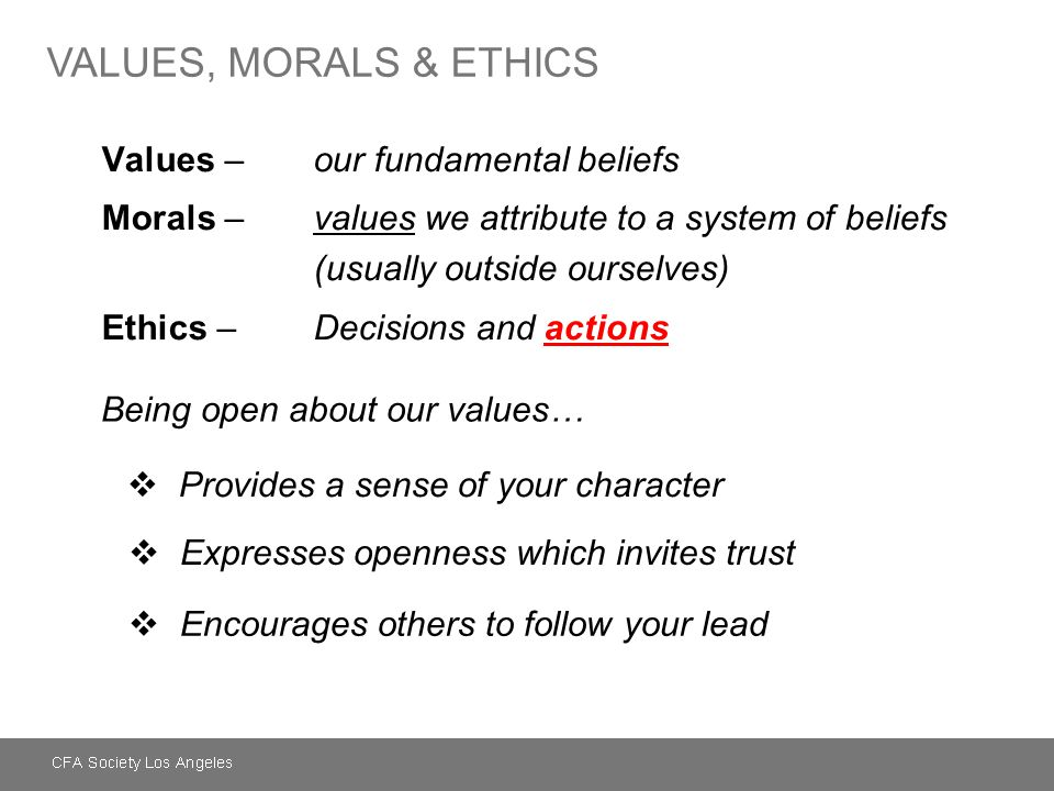 Values –our fundamental beliefs Morals –values we attribute to a system of beliefs (usually outside ourselves) Ethics – Decisions and actions Being op