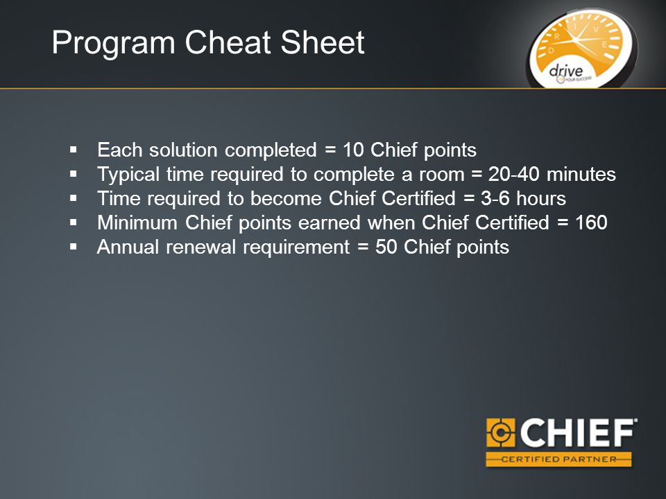 Program Cheat Sheet  Each solution completed = 10 Chief points  Typical time required to complete a room = 20-40 minutes  Time required to become Chief Certified = 3-6 hours  Minimum Chief points earned when Chief Certified = 160  Annual renewal requirement = 50 Chief points