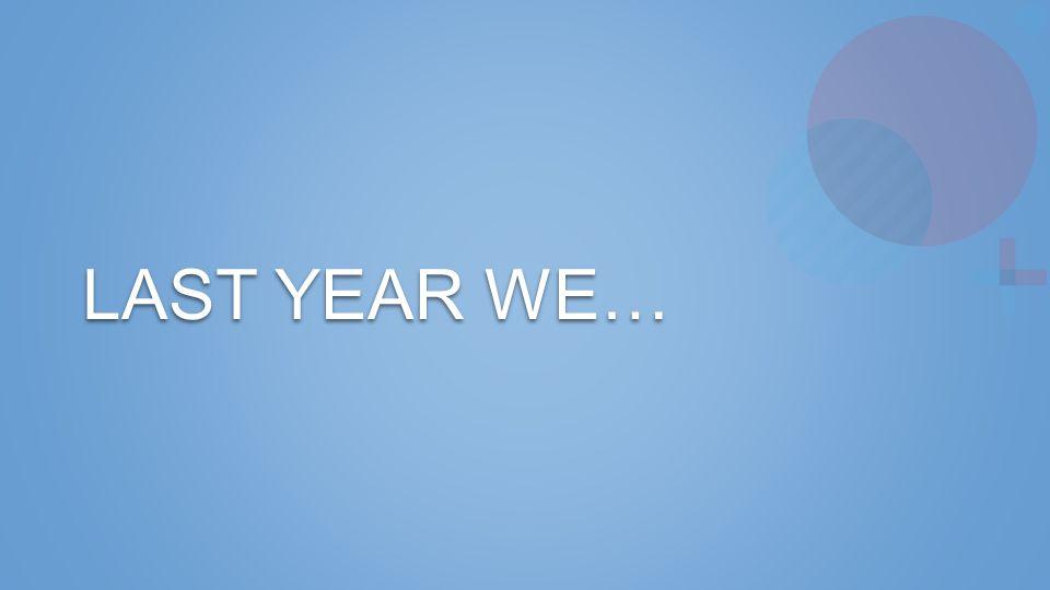 LAST YEAR WE…