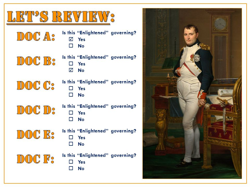 Each of the passages below describes characteristics of Napoleon's rule in France.