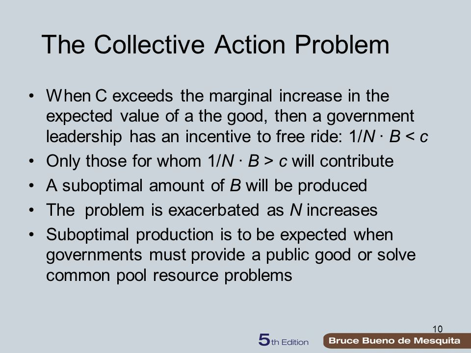 10 The Collective Action Problem When C exceeds the marginal increase in the expected value of a the good, then a government leadership has an incentive to free ride: 1/N ∙ B < c Only those for whom 1/N ∙ B > c will contribute A suboptimal amount of B will be produced The problem is exacerbated as N increases Suboptimal production is to be expected when governments must provide a public good or solve common pool resource problems