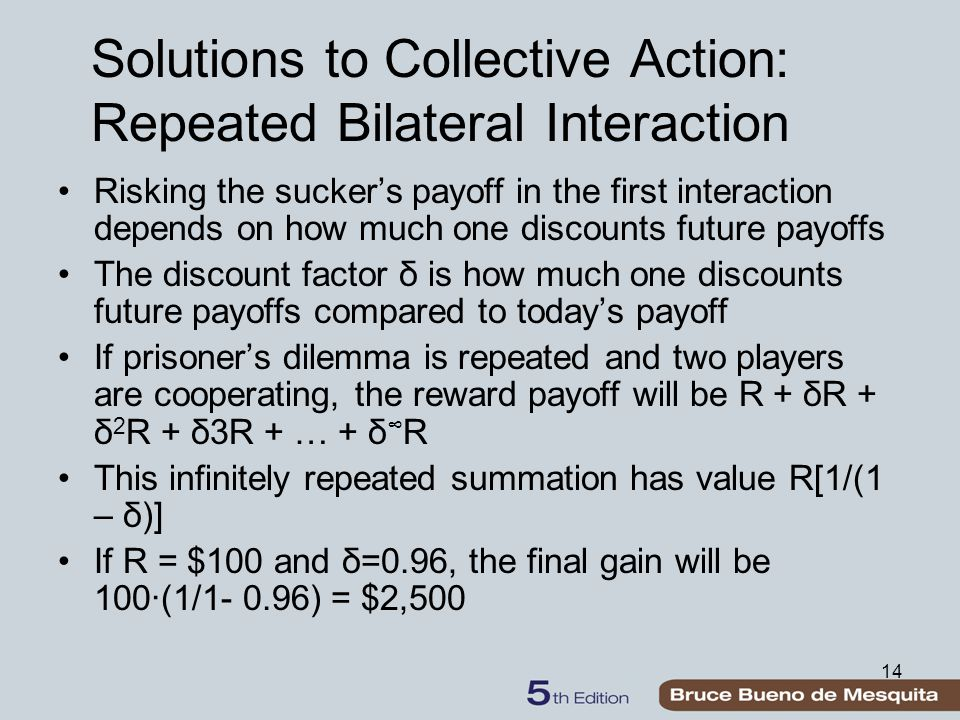 14 Solutions to Collective Action: Repeated Bilateral Interaction Risking the sucker's payoff in the first interaction depends on how much one discounts future payoffs The discount factor δ is how much one discounts future payoffs compared to today's payoff If prisoner's dilemma is repeated and two players are cooperating, the reward payoff will be R + δR + δ 2 R + δ3R + … + δ ∞ R This infinitely repeated summation has value R[1/(1 – δ)] If R = $100 and δ=0.96, the final gain will be 100∙(1/1- 0.96) = $2,500