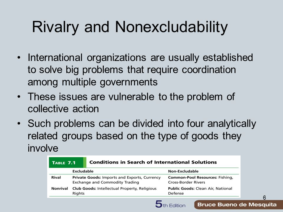 6 Rivalry and Nonexcludability International organizations are usually established to solve big problems that require coordination among multiple governments These issues are vulnerable to the problem of collective action Such problems can be divided into four analytically related groups based on the type of goods they involve