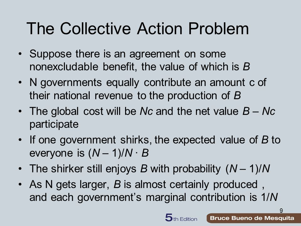 9 The Collective Action Problem Suppose there is an agreement on some nonexcludable benefit, the value of which is B N governments equally contribute an amount c of their national revenue to the production of B The global cost will be Nc and the net value B – Nc participate If one government shirks, the expected value of B to everyone is (N – 1)/N ∙ B The shirker still enjoys B with probability (N – 1)/N As N gets larger, B is almost certainly produced, and each government's marginal contribution is 1/N