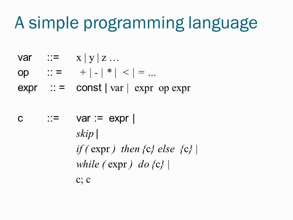 A simple programming language var::= x | y | z … op :: = + | - | * | < | = … expr :: = const | var | expr op expr c::= var := expr | skip | if ( expr ) then {c} else {c} | while ( expr ) do {c} | c; c