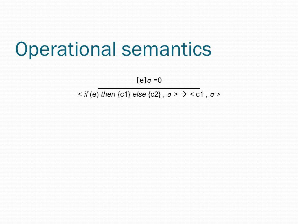 Operational semantics [ e ]  =0 _________________________ 