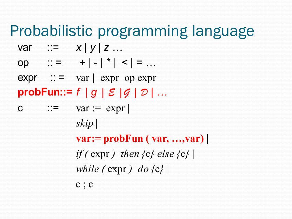 Probabilistic programming language var::= x | y | z … op :: = + | - | * | < | = … expr :: = var | expr op expr probFun::= f | g | E |G | D | … c::= var := expr | skip | var:= probFun ( var, …,var) | if ( expr ) then {c} else {c} | while ( expr ) do {c} | c ; c
