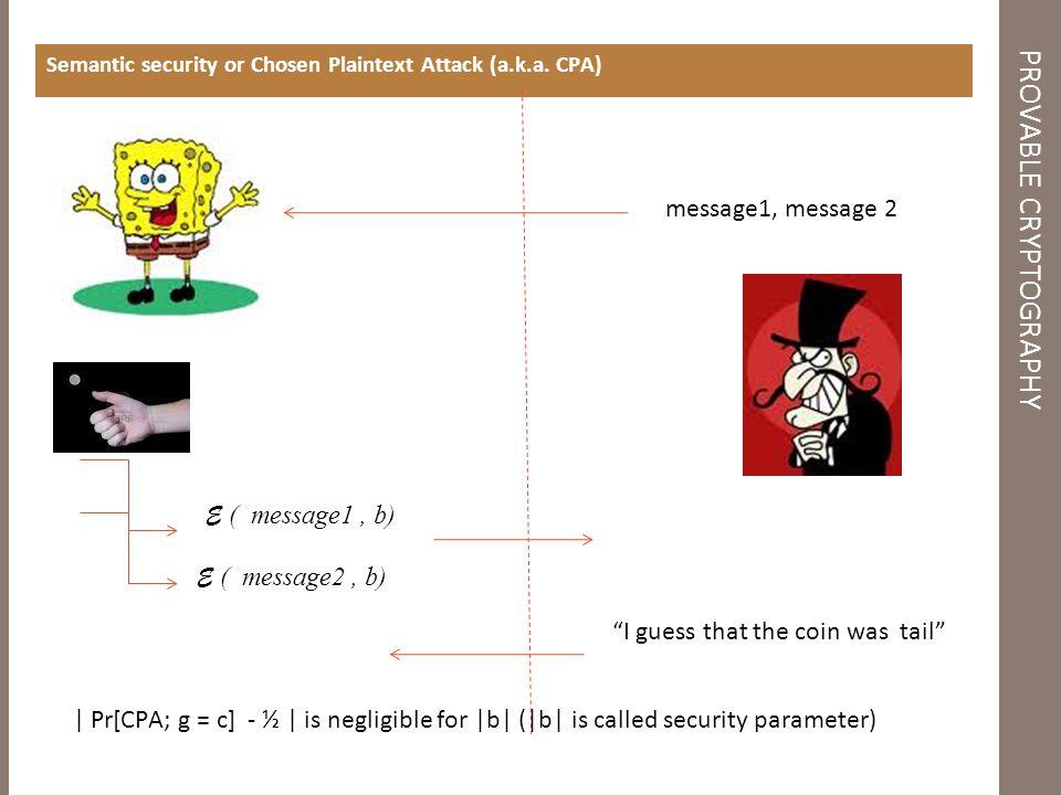 Semantic security or Chosen Plaintext Attack (a.k.a.