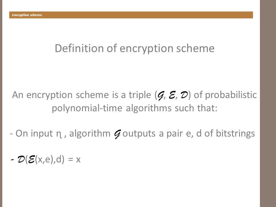 encryption scheme Definition of encryption scheme An encryption scheme is a triple ( G, E, D ) of probabilistic polynomial-time algorithms such that: - On input ɳ, algorithm G outputs a pair e, d of bitstrings - D ( E (x,e),d) = x