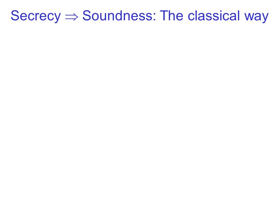 Secrecy  Soundness: The classical way
