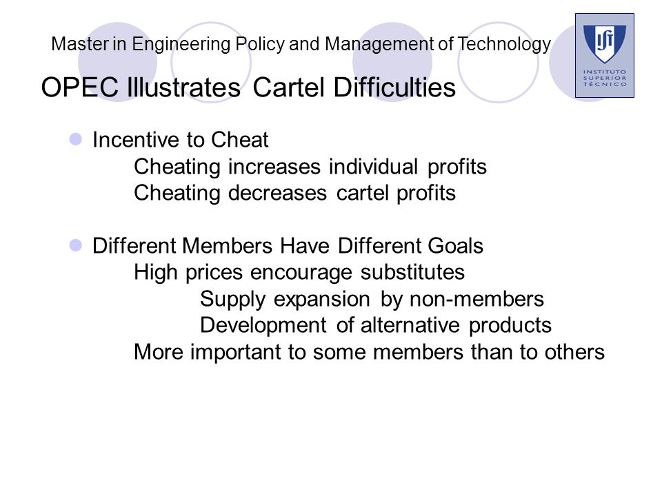 OPEC Illustrates Cartel Difficulties Incentive to Cheat Cheating increases individual profits Cheating decreases cartel profits Different Members Have Different Goals High prices encourage substitutes Supply expansion by non-members Development of alternative products More important to some members than to others Master in Engineering Policy and Management of Technology