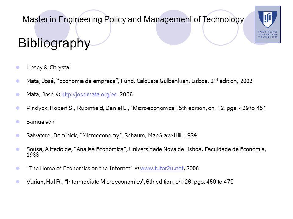 Bibliography Lipsey & Chrystal Mata, José, Economia da empresa , Fund.