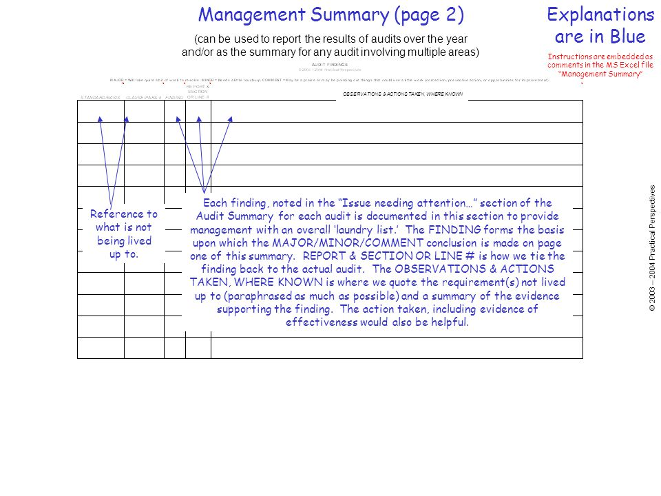 © 2003 – 2004 Practical Perspectives OBSERVATIONS & ACTIONS TAKEN, WHERE KNOWN Management Summary (page 2) (can be used to report the results of audits over the year and/or as the summary for any audit involving multiple areas) Explanations are in Blue Instructions are embedded as comments in the MS Excel file Management Summary Reference to what is not being lived up to.