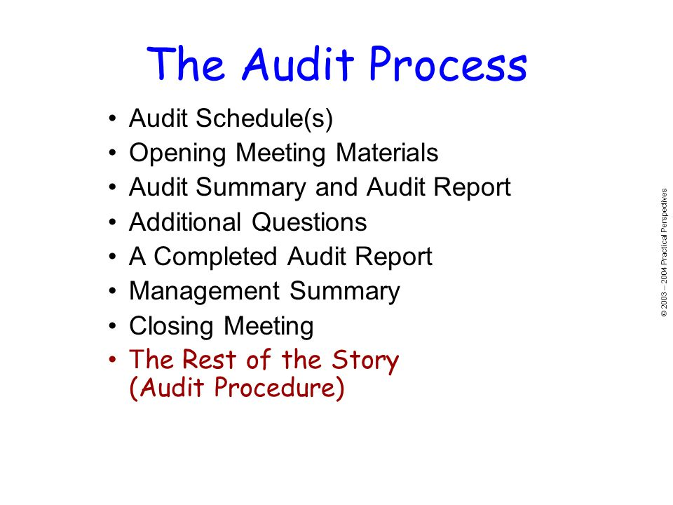 © 2003 – 2004 Practical Perspectives Audit Schedule(s) Opening Meeting Materials Audit Summary and Audit Report Additional Questions A Completed Audit Report Management Summary Closing Meeting T he Rest of the Story (Audit Procedure) The Audit Process
