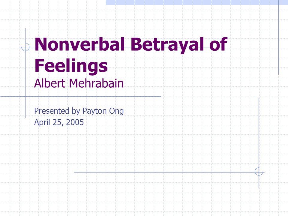 Nonverbal Betrayal of Feelings Albert Mehrabain Presented by Payton Ong April 25, 2005