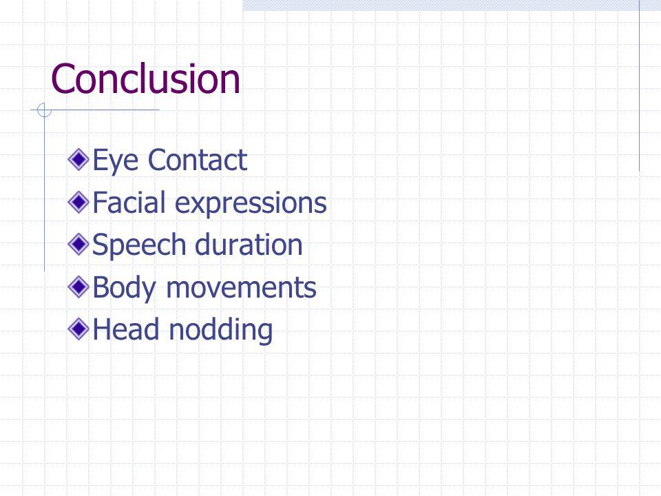 Conclusion Eye Contact Facial expressions Speech duration Body movements Head nodding