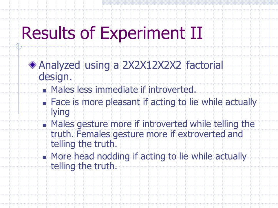Results of Experiment II Analyzed using a 2X2X12X2X2 factorial design.
