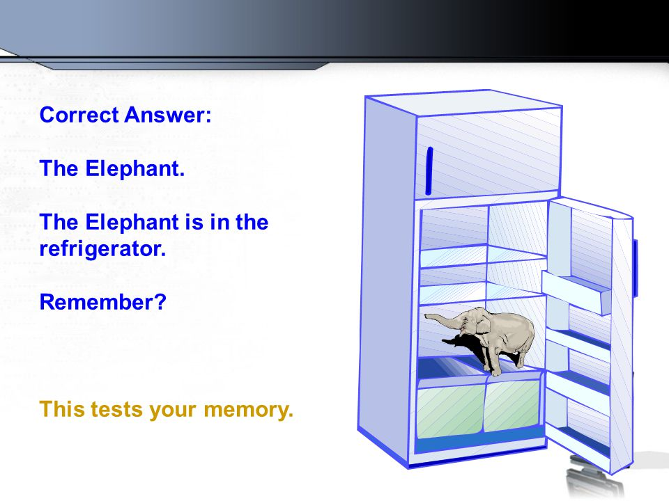 Correct Answer: The Elephant. The Elephant is in the refrigerator.
