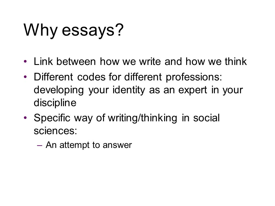 Why essays.