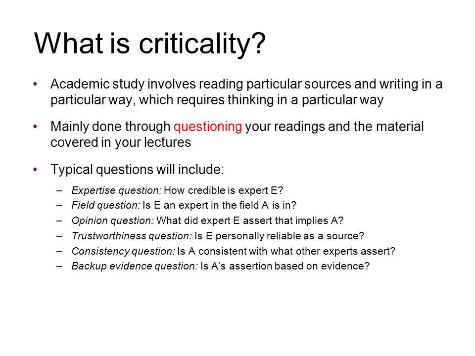 What is criticality.