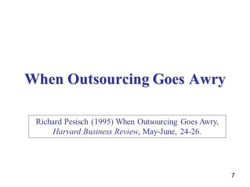 7 When Outsourcing Goes Awry Richard Pesisch (1995) When Outsourcing Goes Awry, Harvard Business Review, May-June, 24-26.