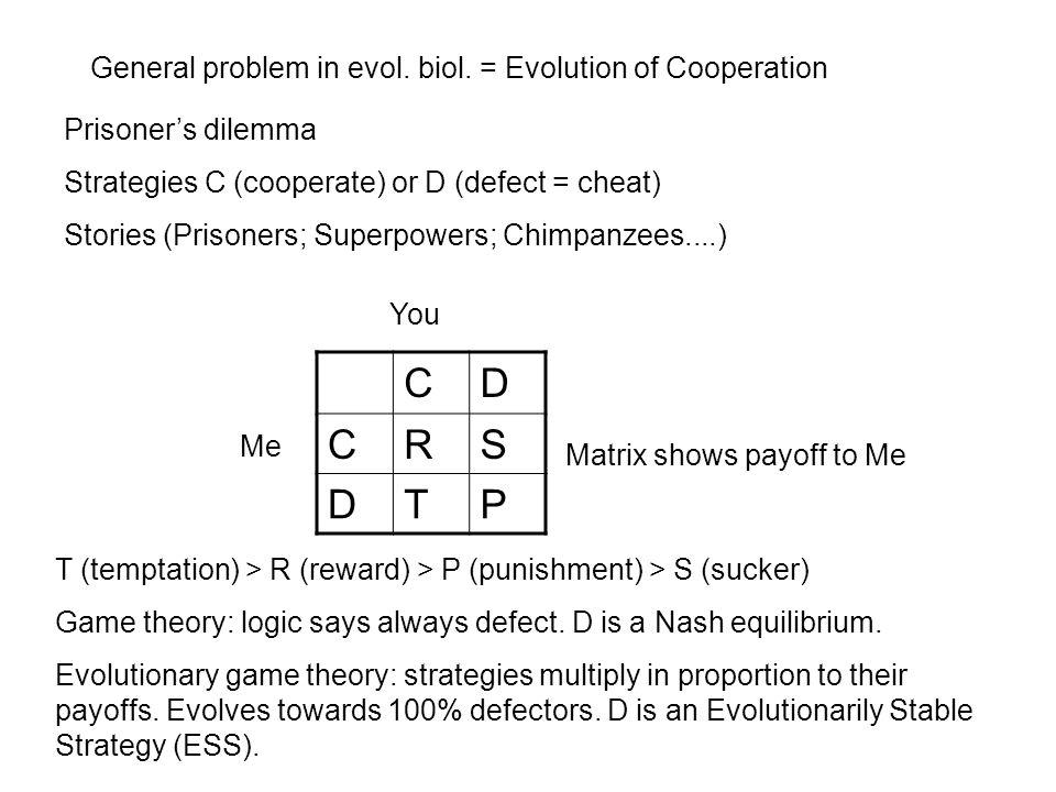 General problem in evol. biol. = Evolution of Cooperation Prisoner's dilemma Strategies C (cooperate) or D (defect = cheat) Stories (Prisoners; Superp