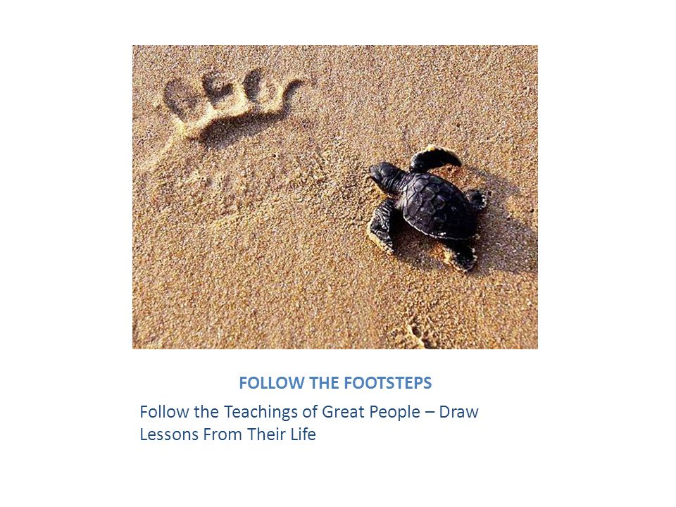 FOLLOW THE FOOTSTEPS Follow the Teachings of Great People – Draw Lessons From Their Life