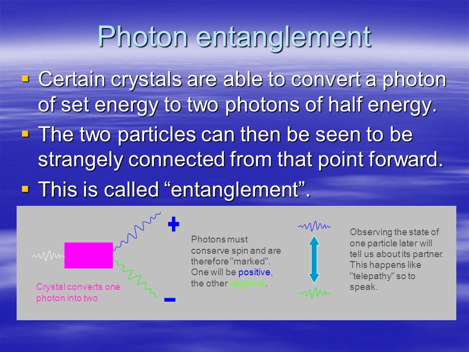 Photon entanglement  Certain crystals are able to convert a photon of set energy to two photons of half energy.