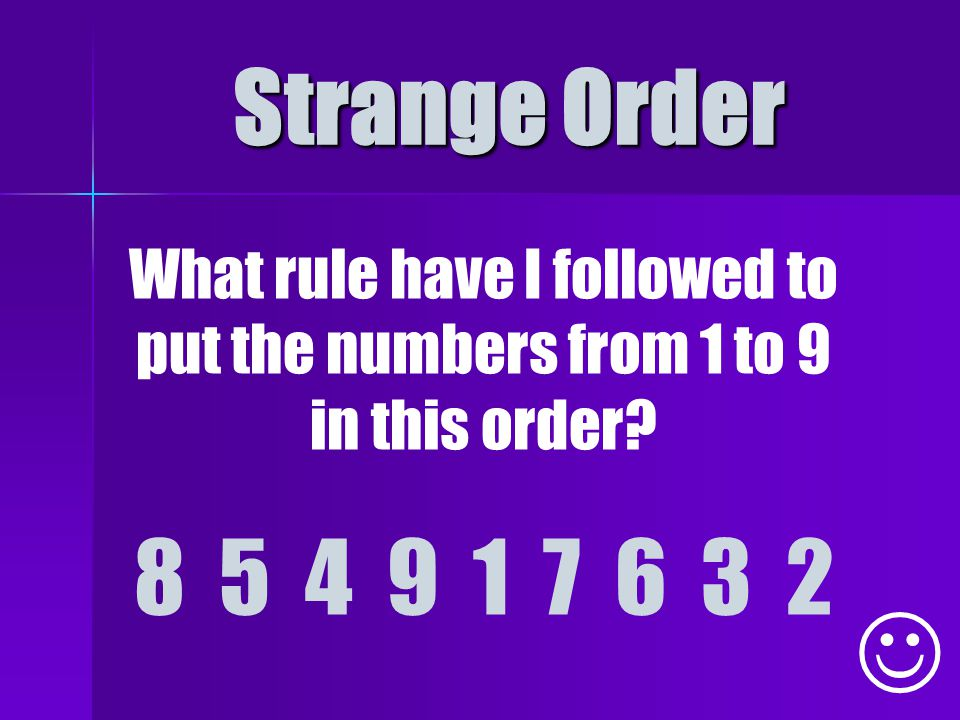 Strange Order What rule have I followed to put the numbers from 1 to 9 in this order.