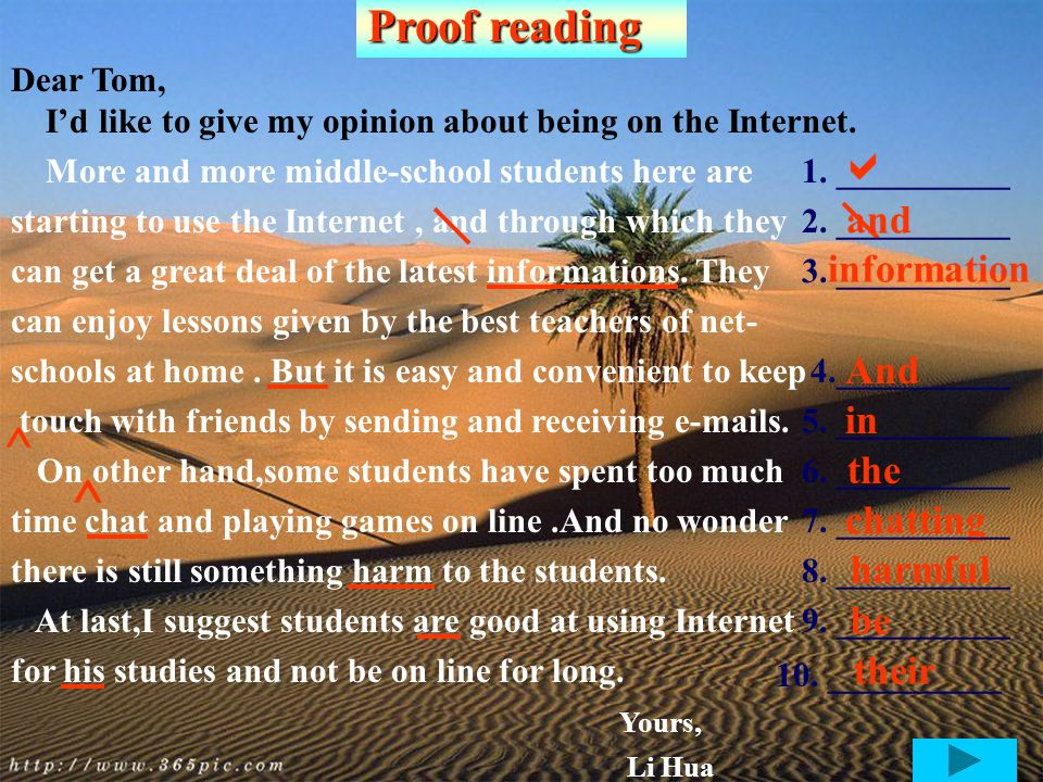 writing 假定你叫李华。远在英国的网友 Tom 想了解你对上 网的看法。请根据下表提供的信息,用英语给 Tom 发 一封 100 个词左右的 E-mail.