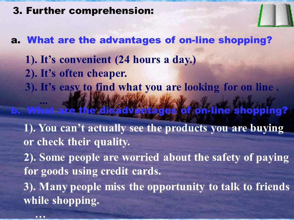 Further reading: ( 一) Questions: 1. What's the people's opinion about Internet shopping.