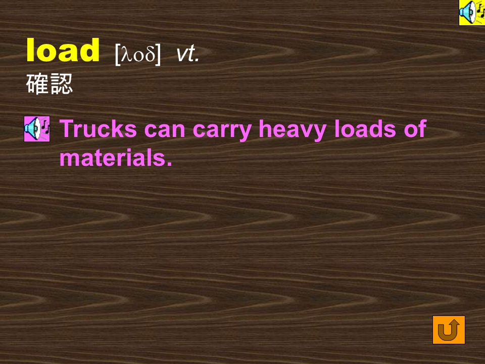 Words for Production 9. load [ lod ] vt. to put an amount on or in (something) 往上加重量,裝載 The farmer loaded his truck with fresh vegetables and fruits.