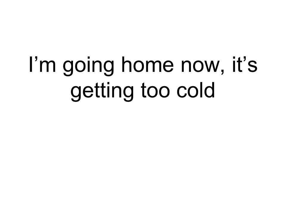 I'm going home now, it's getting too cold