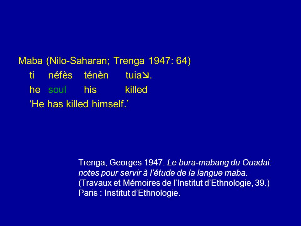 Maba (Nilo-Saharan; Trenga 1947: 64) tinéfès ténèn tuia .