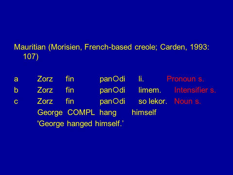 Mauritian (Morisien, French-based creole; Carden, 1993: 107) aZorz fin pan  di li.