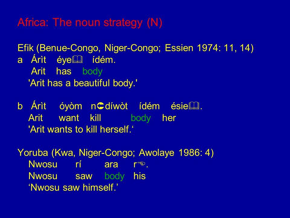 Africa: The noun strategy (N) Efik (Benue-Congo, Niger-Congo; Essien 1974: 11, 14) a Árìt éye  ídém.