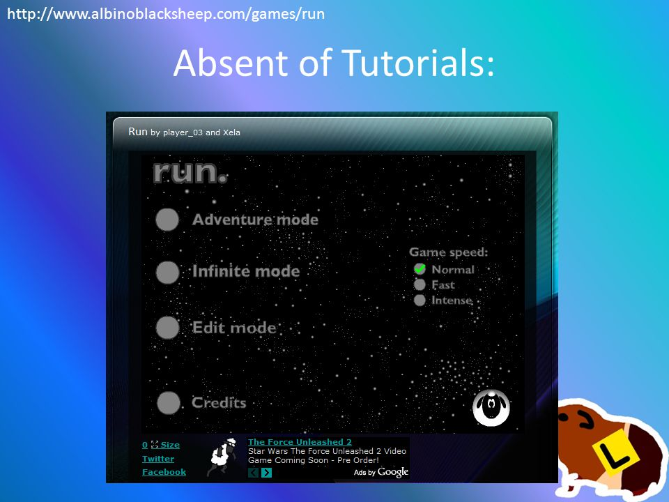 Absent of Tutorials: http://www.albinoblacksheep.com/games/run